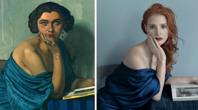 Jessica Chastain + painting, Vogue mag.