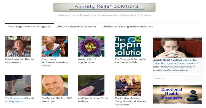 Anxiety Relief Solutions site